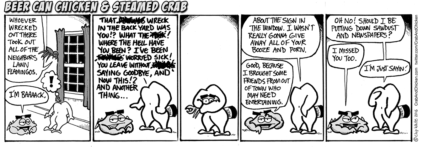 Beer Can Chicken & Steamed Crab #82 - I'm Baaaaack... Steamed crab shows up again after a prolonged absence and he's brought som friends from out of town. Beer Can Chicken is happy to see Crab again